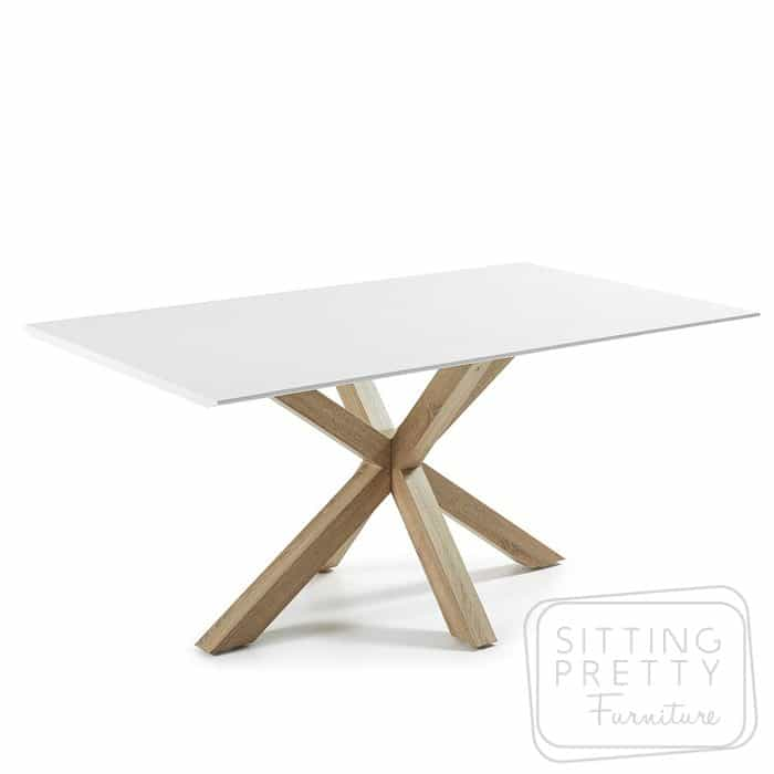 Arya Table - White top & natural legs - 200cm
