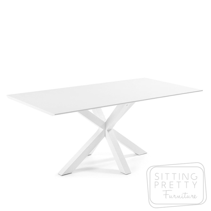 Arya Table 180cm – White top with white metal legs by LaForma
