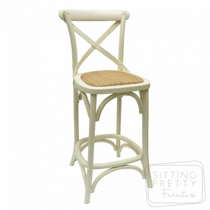 Bella Cross Back Oak Barstool - White - 76cm