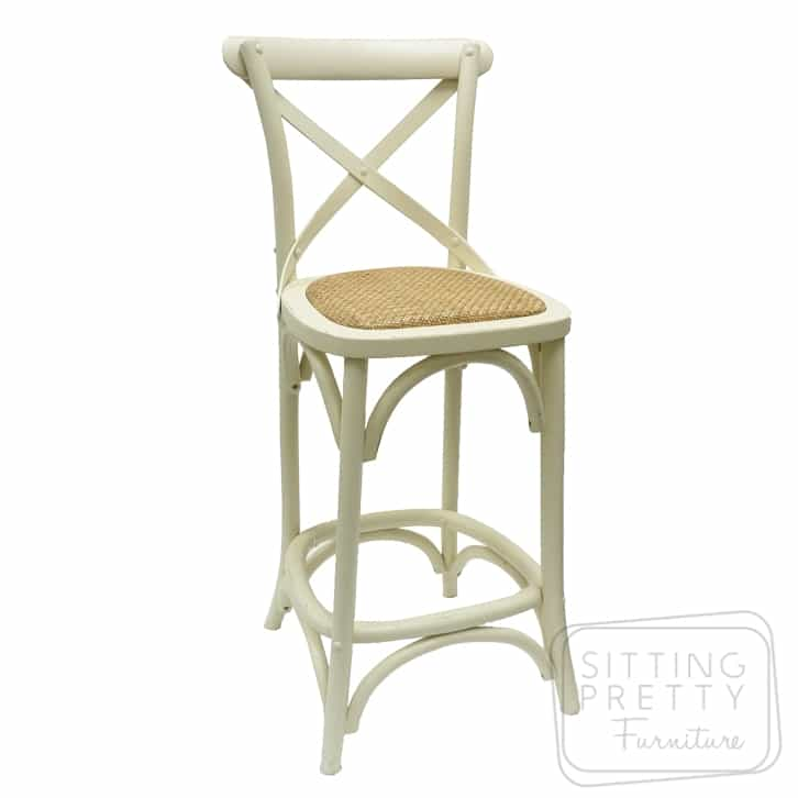 Bella Cross Back Oak Barstool – White – 76cm