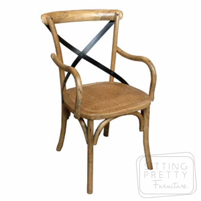 Bella Cross Back Armchair - Oak with black metal straps