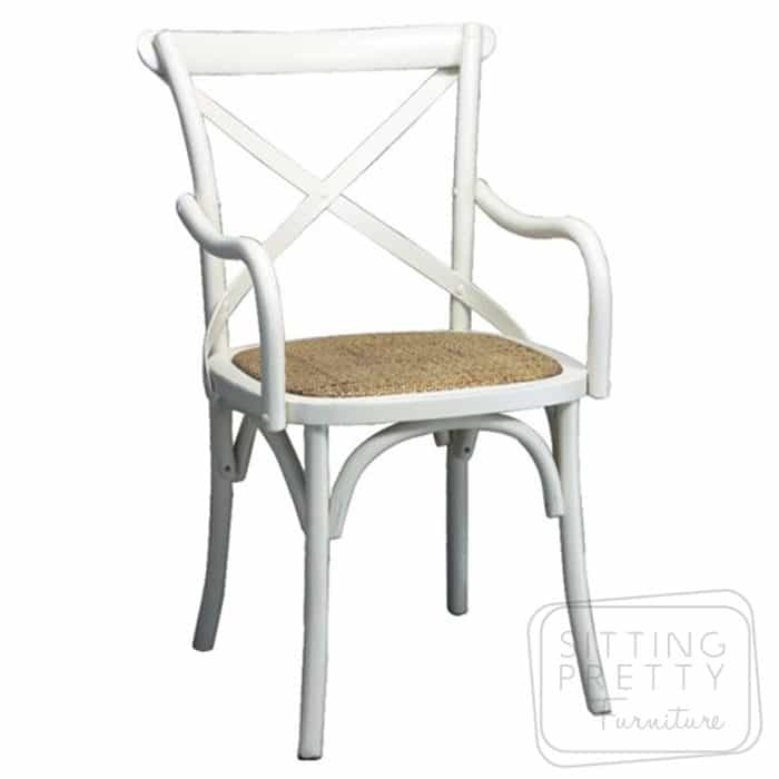 Bella Cross Back Oak Carver Chair - White