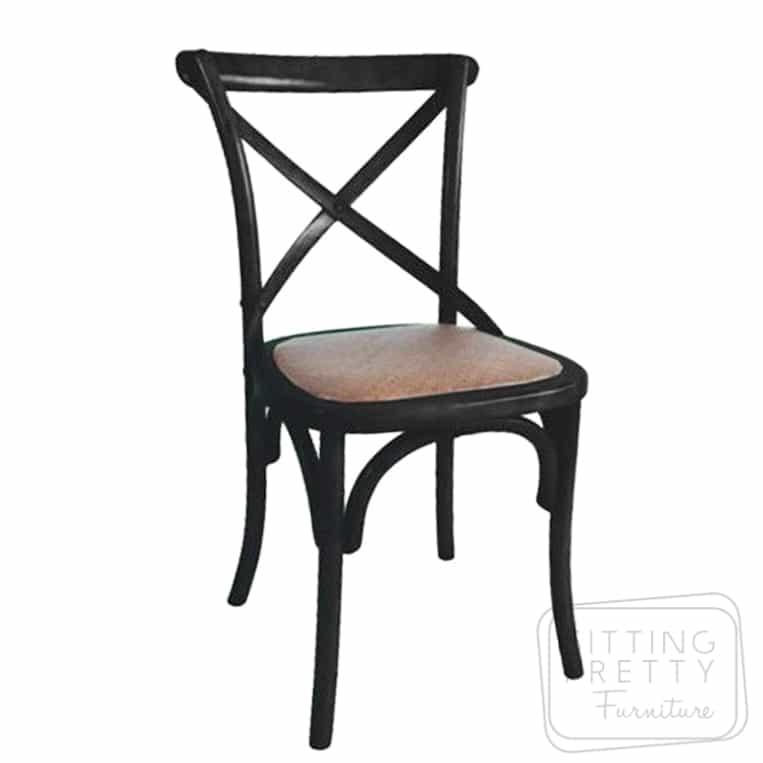 Bella Cross Back Chair - Vintage Black
