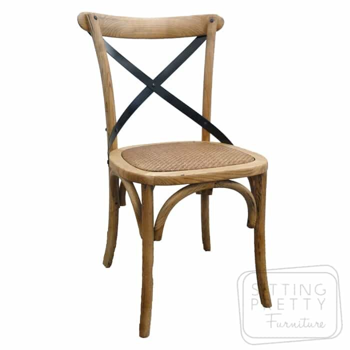 Bella Cross Back Chair - Oak with black metal straps