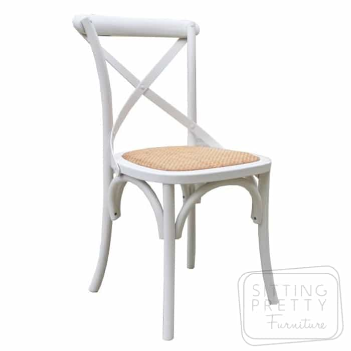 Bella Cross Back Oak Chair – White