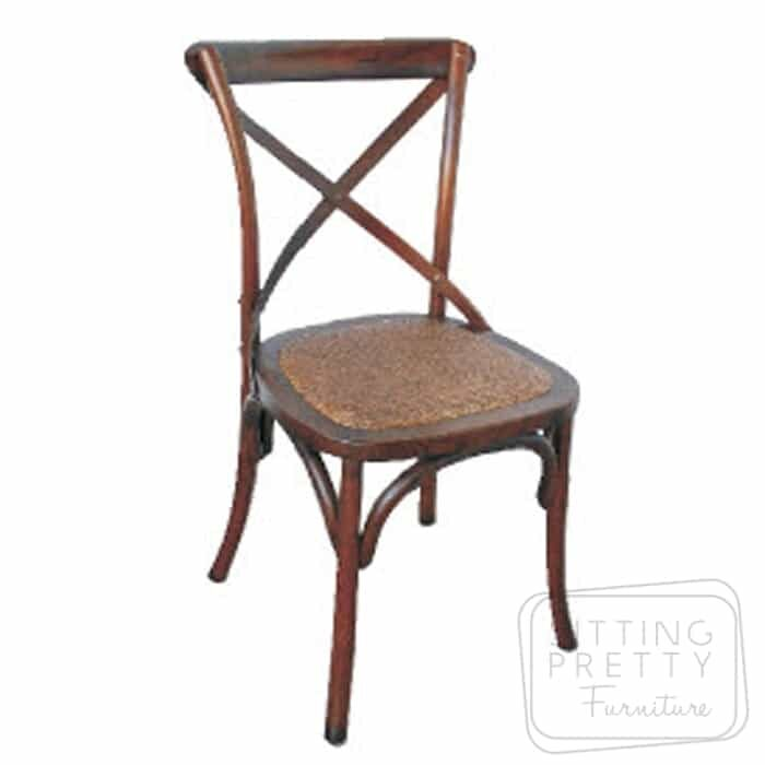 Bella Cross Back Oak Chair - Walnut Stain