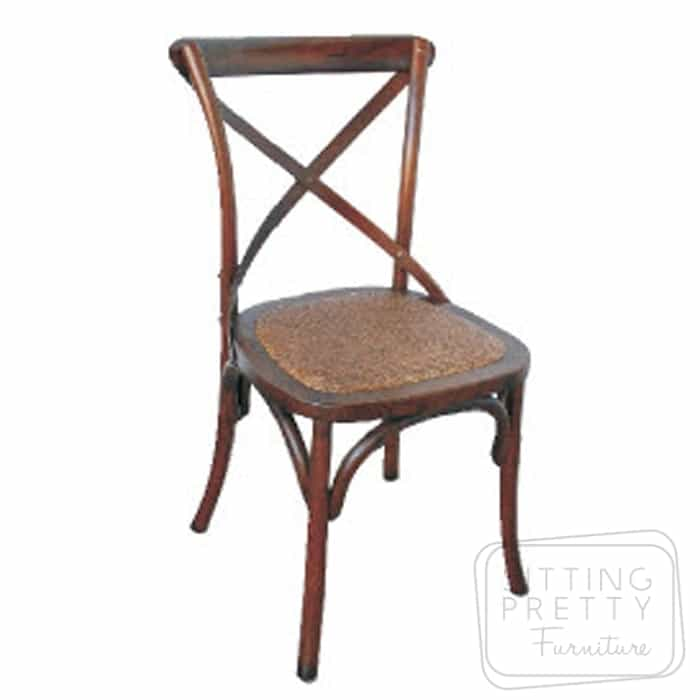 Bella Cross Back Oak Chair – Walnut Stain
