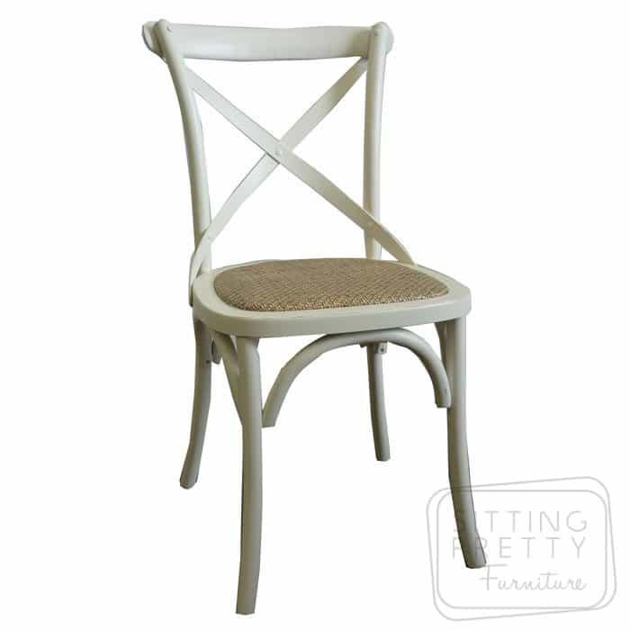 Bella Cross Back Chair - Ivory (Sydney stock)