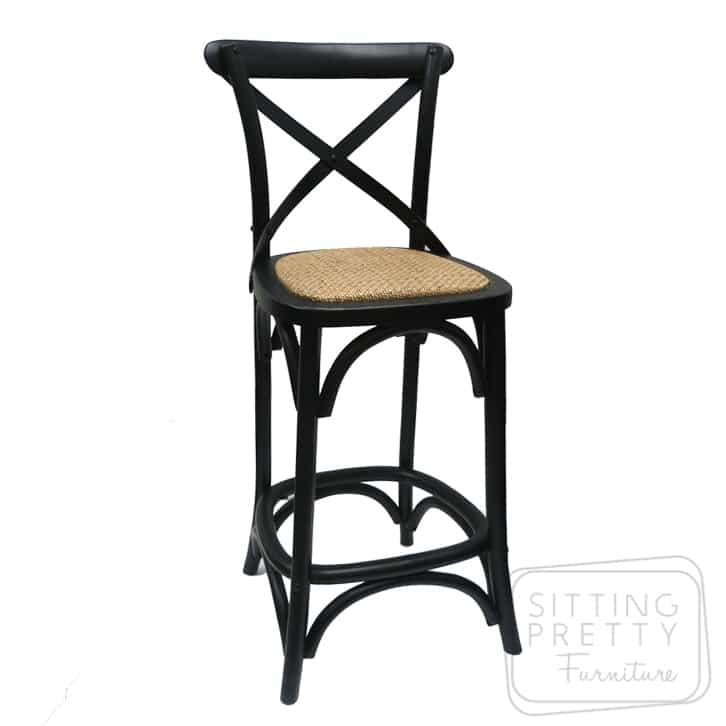 Bella Cross Back Stool - Vintage Black