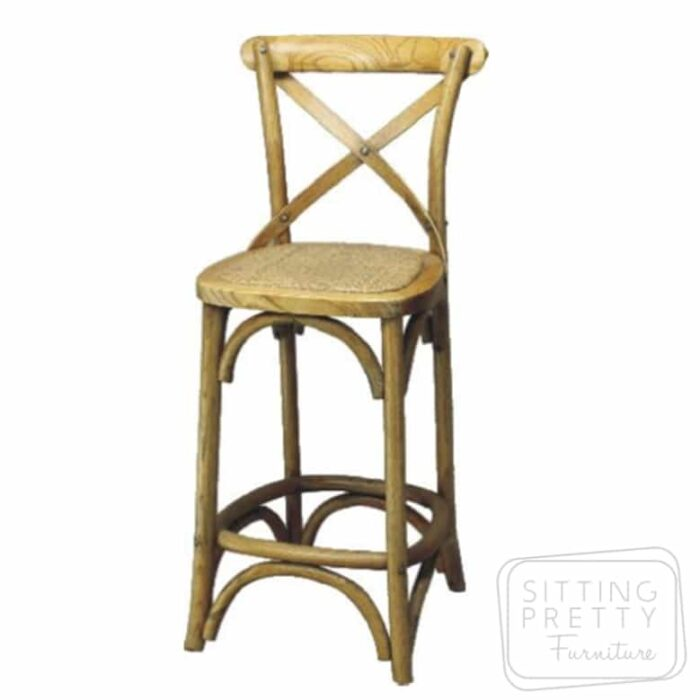 Bella Cross Back Stool - Oak