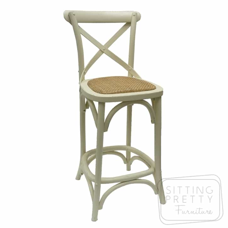 Bella Cross Back Stool - Ivory