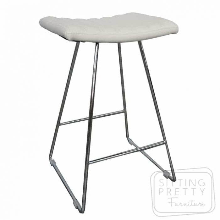 Bindi Stool - White/Chrome Base
