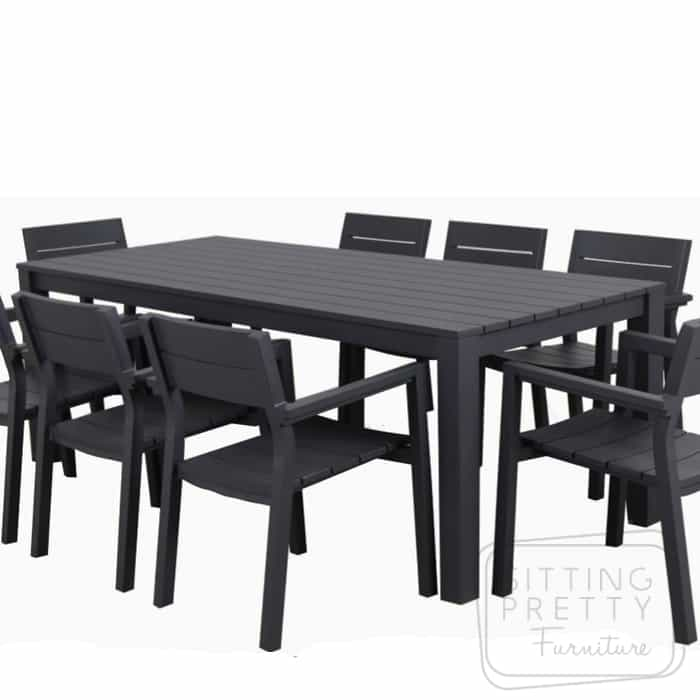 Dune Aluminium Outdoor Table 220cm – Charcoal (Table Only) – ALMOST GONE