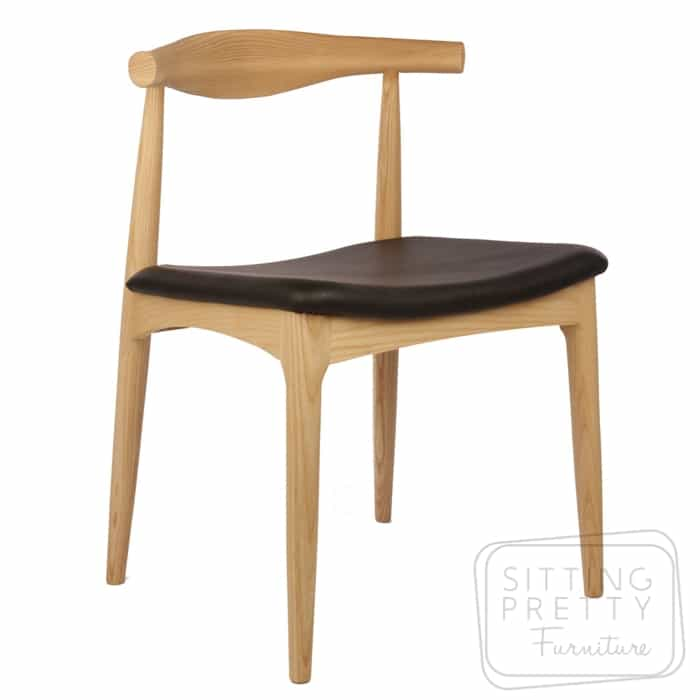 Replica Hans Wegner Elbow Chair - Ash/Black
