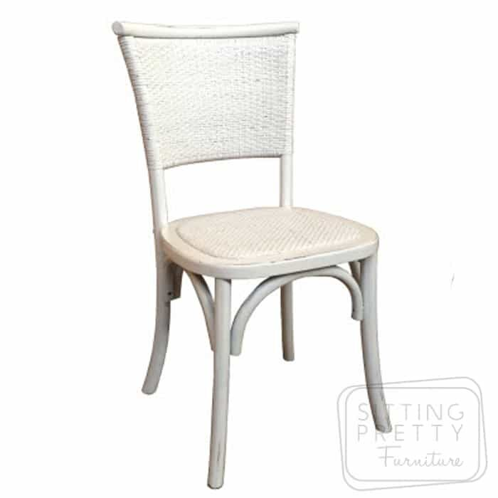 Flaxen Oakwood Chair - Vintage White
