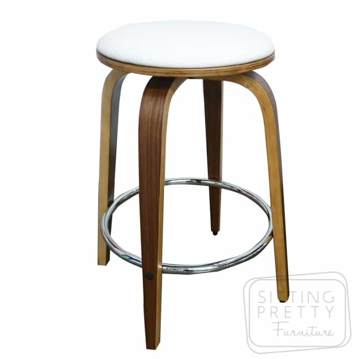 Gatsby Backless Swivel Stool – Walnut/White