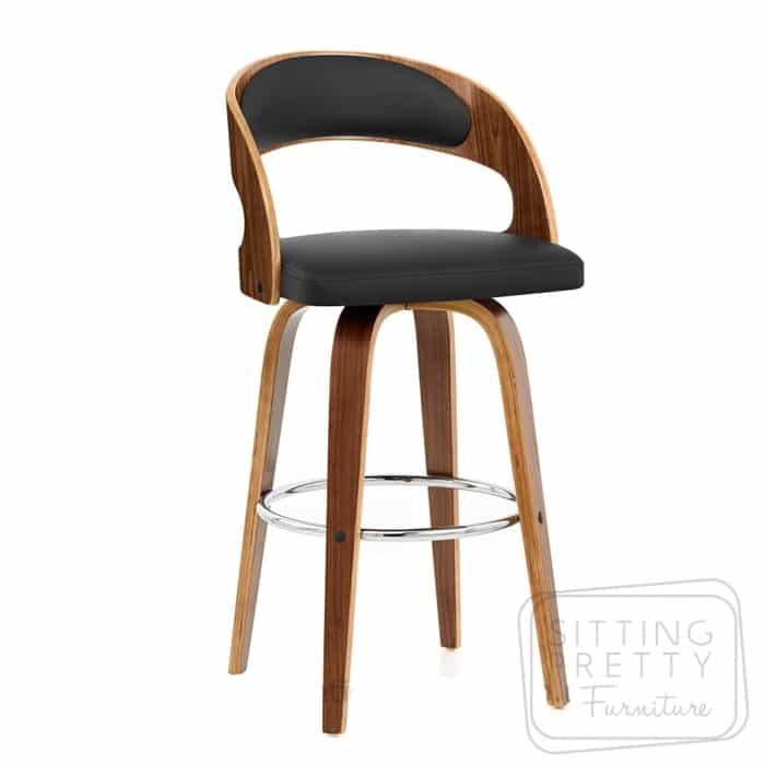 Gatsby Swivel Stool - Walnut/Black - MORE MID SEP