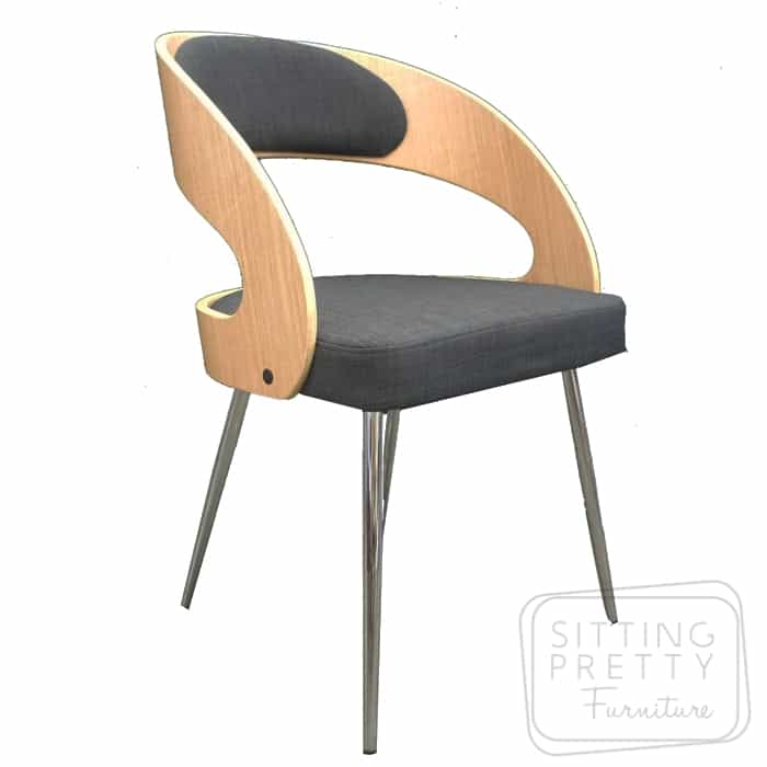 Gatsby Dining Chair - Oak/Charcoal Fabric