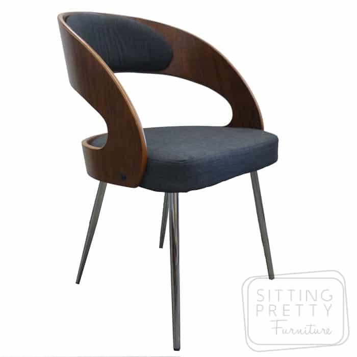 Gatsby Dining Chair - Walnut/Charcoal fabric