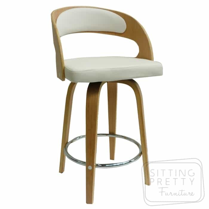 Gatsby Swivel Stool - Oak/White