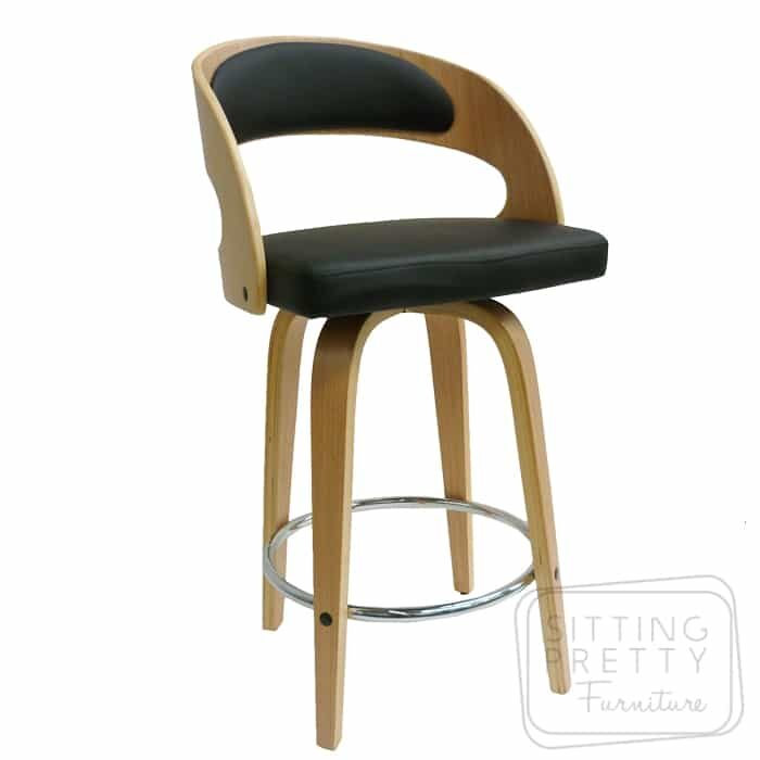 Gatsby Swivel Stool - Oak/Black - DUE LATE MARCH