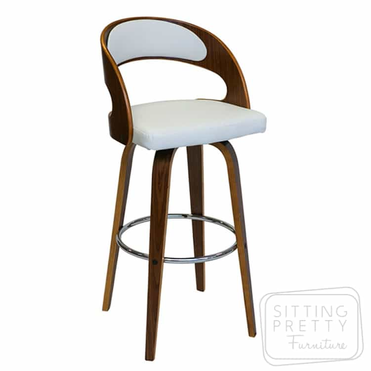 Gatsby Swivel Stool – Walnut/White PU