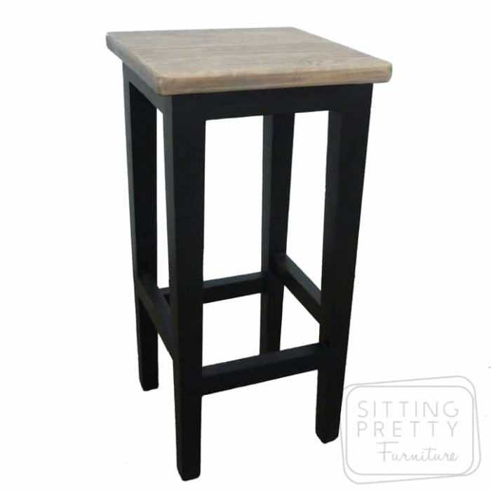 Hampton Solid Oak Stool - Black