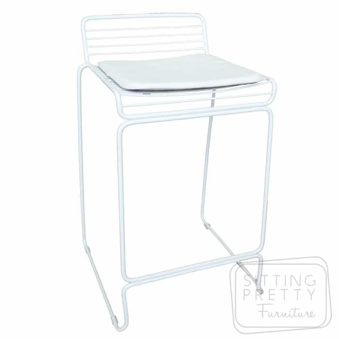 Helix Wire Stool with removable seat pad - White