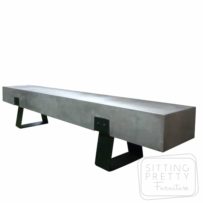 Hunter Concrete Bench- Grey/Black - 240cm