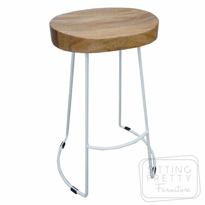 Tractor Wire Stool - Mango Wood/white steel legs