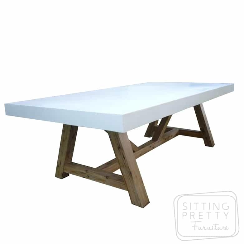 Manor Concrete Table with American Oak Legs – Ivory – 240 x 120cm – FLOOR MODEL