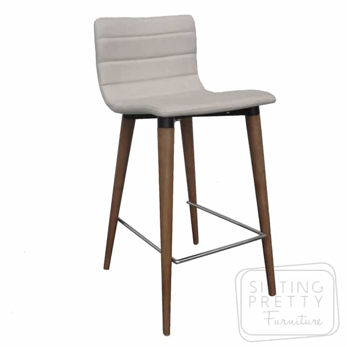 Soho Stool - Oatmeal fabric/Walnut Leg