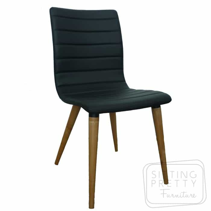 Soho Chair - Black PU/Walnut Leg