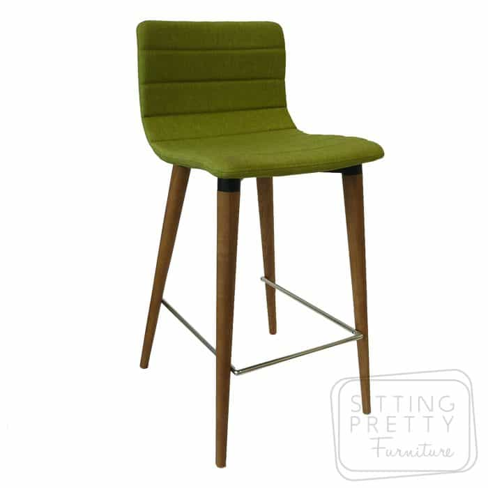 Soho Stool - Pistachio fabric/Walnut Leg