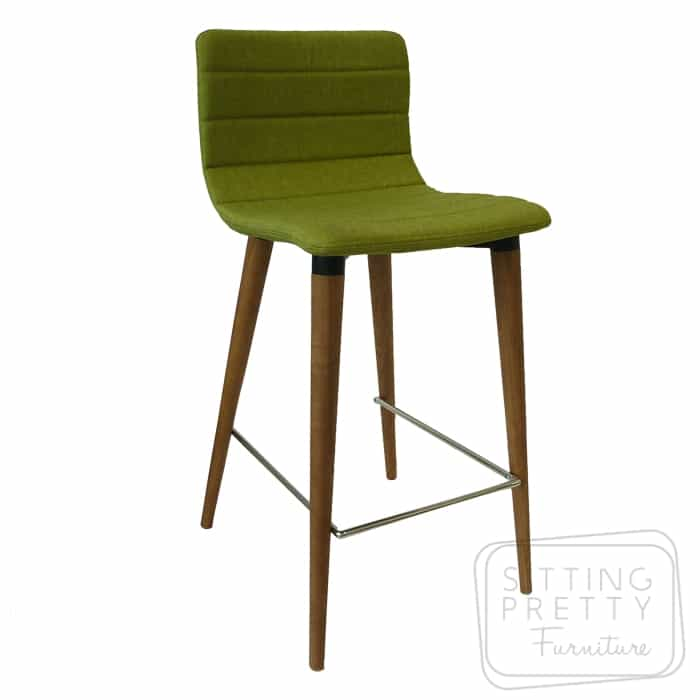 Soho Stool – Pistachio Fabric/Walnut Leg