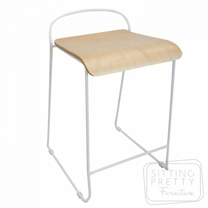 Plank Stool - White Wire