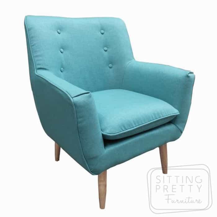 Retro Fabric Chair – Teal Blue