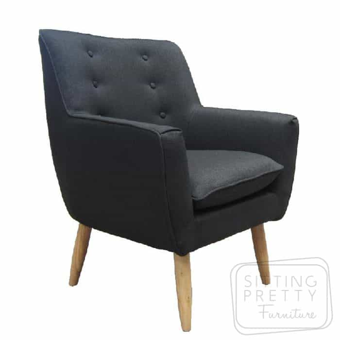 Retro Fabric Chair - Black