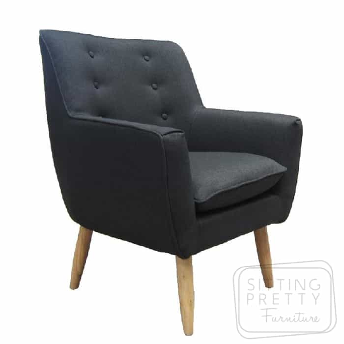 Retro Fabric Chair – Black