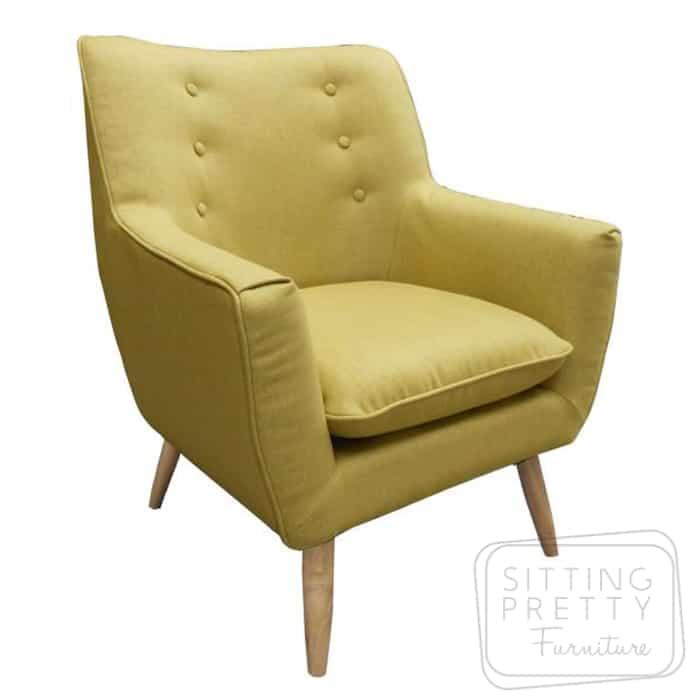 Retro Fabric Chair - Mustard