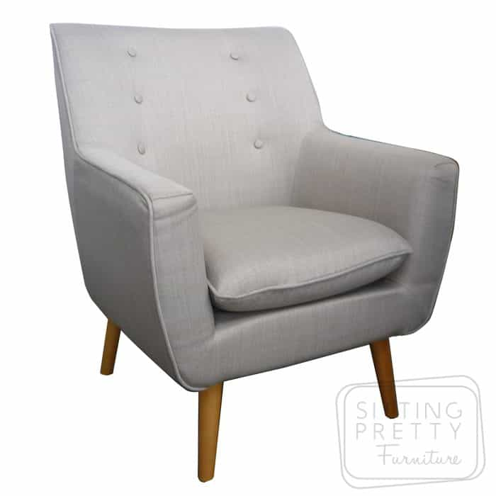 Retro Fabric Chair - Oatmeal
