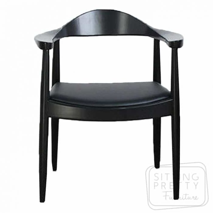 Replica Hans Wegner Round Chair - All Black