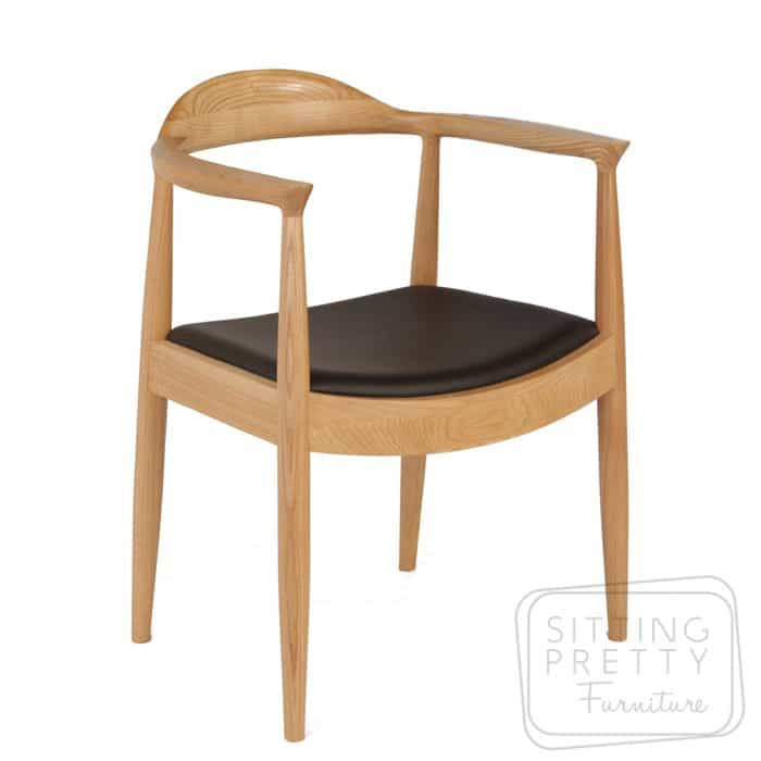 Replica Hans Wegner Round Chair - Black/Ash