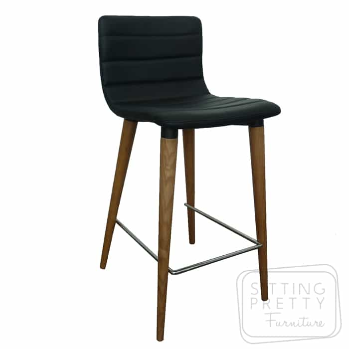 Soho Stool - Black PU Seat/Walnut Leg