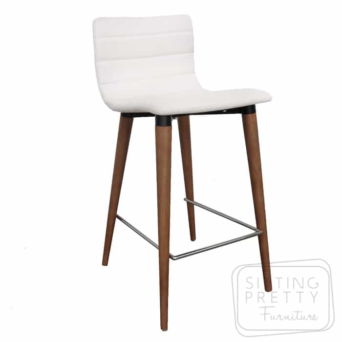 Soho Stool – White PU Seat/Walnut Leg