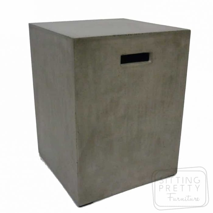 Square Concrete Dining Stool - Grey