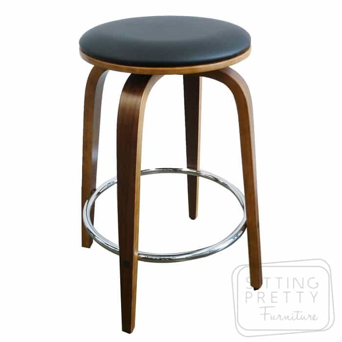 Gatsby Backless Swivel Stool - Walnut/Black - DUE LATE MARCH