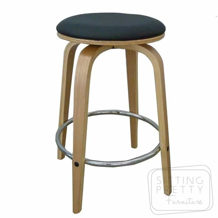 Gatsby Backless Swivel Stool - Oak/Black