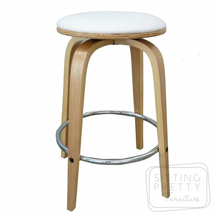 Gatsby Backless Swivel Stool - Oak/White