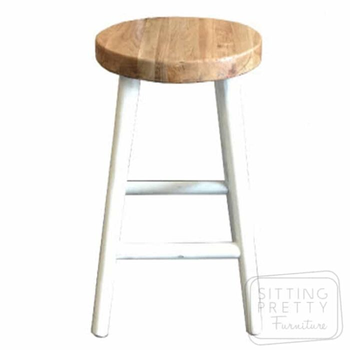 Tiffany Oakwood Stool - White